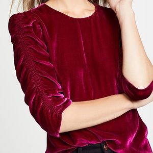 REBECCA TAYLOR | NWT Velvet Ruched Sleeve Top